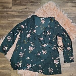 Green Floral H&M Wrap Top